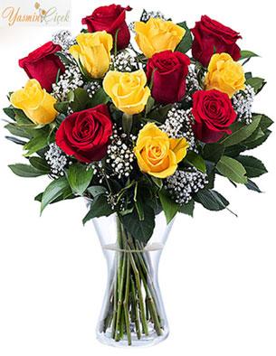 Flamenko: sarı ve kırmızı güller